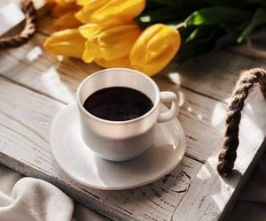coffee, tulips, and coffee time image