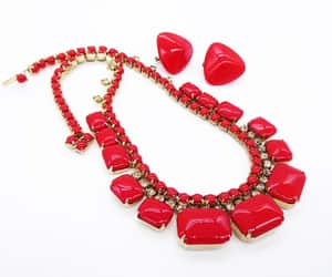Lipstick Red Glass Cab Necklace & Matching Earrings  Vintage image 0