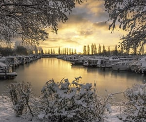 canal, landscape, and snow image