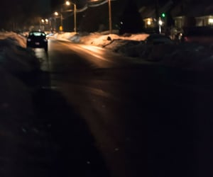 road, winter, and night image