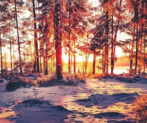 landscape, snow, and sunset image