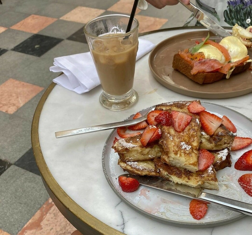 pancakes, cafe, and red image