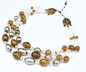Crystal white pearl gold  Bead Necklace  Aurora borealis gold image 0