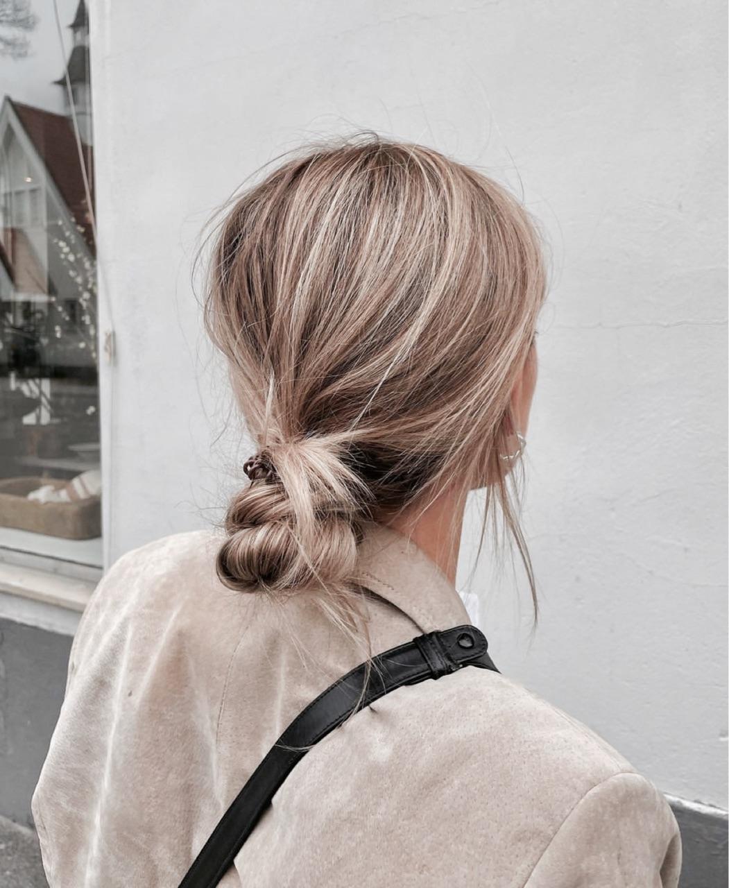 blonde, bun, and hair image