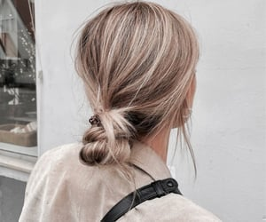 blonde, bun, and style image