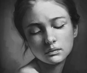 pencil drawing and pencil drawing portrait image