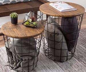 blanket basket end table image