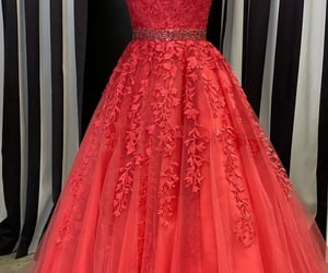 red prom dress, beaded prom dress, and lace applique prom dress image