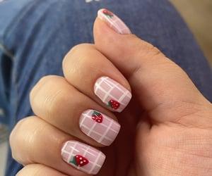 nail art, strawberries, and nail inspo image