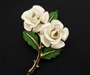 Signed Crown Trifari White Enamel Roses with Green Enamel image 0