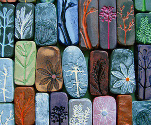 flowers, stone, and art image