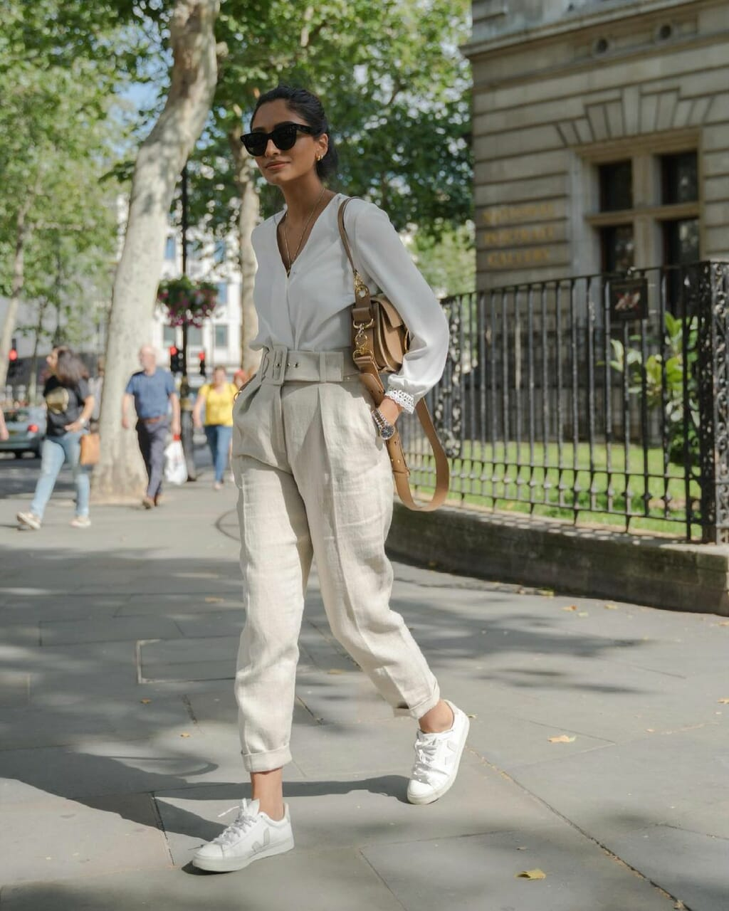 blogger, outfit, and linen pants image