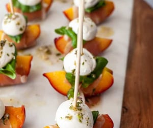 Mozzarella, Prosciutto, and Pickled Peach Appetizer Skewers Recipe. This tasty peach appetizer takes a new spin on caprese salad with a variety of flavors and textures -- and puts it all on a stick.❤❤❤
