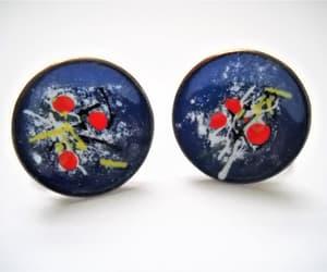 etsy, mid century modern, and enamel earrings image