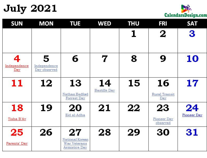article and july 2021 calendar canada image