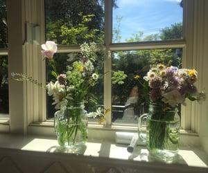 flowers, aesthetic, and window image