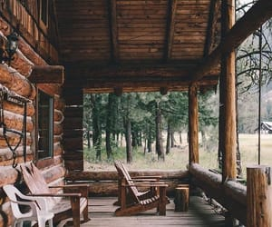 cabin, house, and nature image
