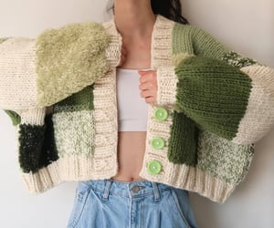 girly, green, and sweater image