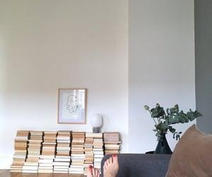 apartment, books, and interior design image