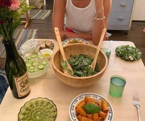 dinner, salad, and wine image