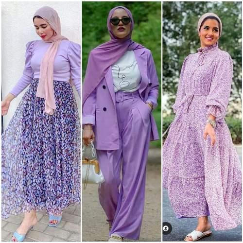 purple hijab outfits image