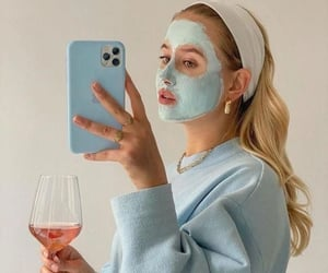 girl, blue, and drink image
