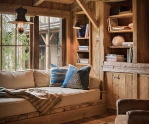 home, wood, and books image