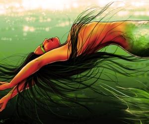 fantasy art, gods, and mermaid image