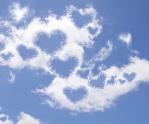 clouds, hearts, and aesthetic image