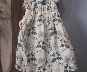 summer dresses, large size dress, and womens linen long dress image
