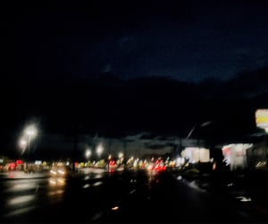 city, traffic lights, and late night drive image