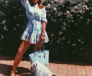 blue, blue dress, and handbag image
