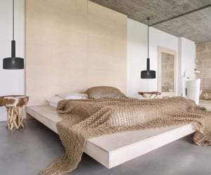 bedroom, interior design, and rustic image
