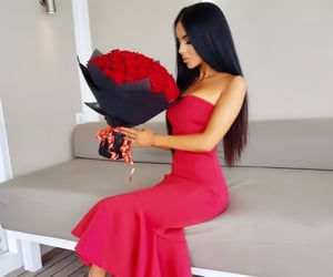 bouquet, girl, and dress image
