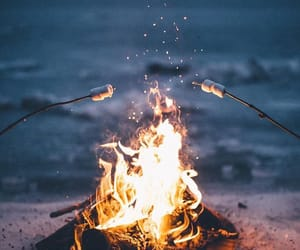 campfire, fire, and s'mores image