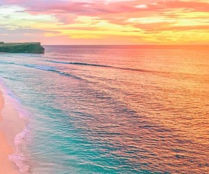 beach, sunset, and colors image