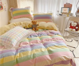 bedroom, pillow, and teddy image