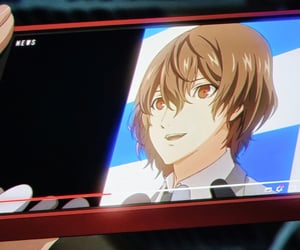 anime, phone, and smile image