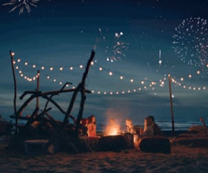 lights, friends, and beach image