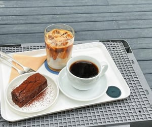 black coffee, brownie, and white image