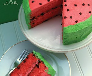 cake, watermelon, and yummy image
