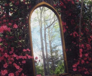 alice in wonderland, forest, and mirror image