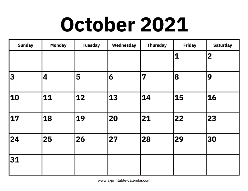 article and october 2021 calendar image
