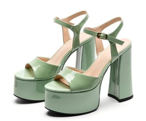 Fashion Sage Green Street Wear Womens Sandals 2021 Leather Ankle Strap 14 cm Thick Heels Open / Peep Toe Sandals High Heels
