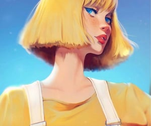 art, blonde hair, and Ilustration image