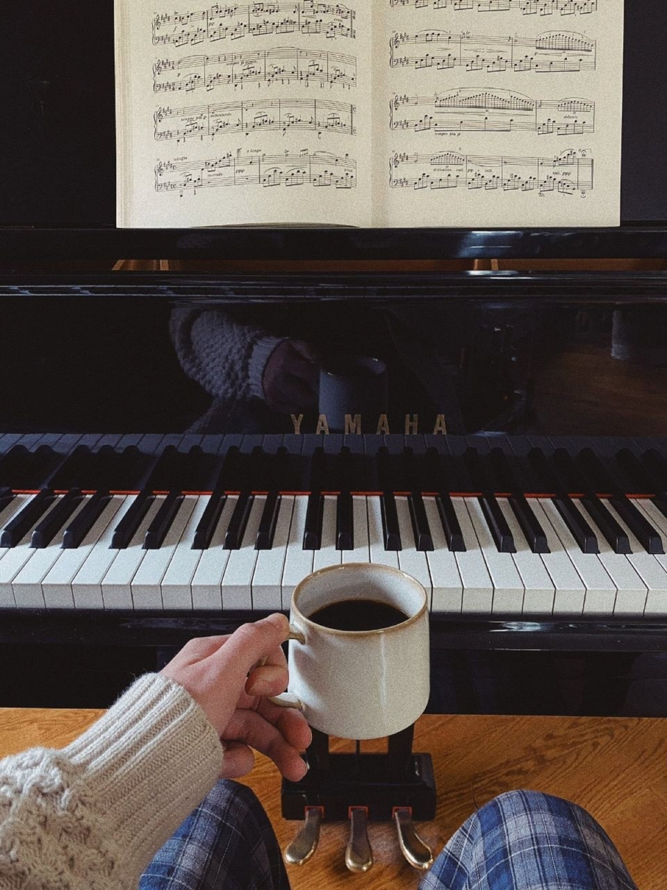 morning, piano, and coffee image