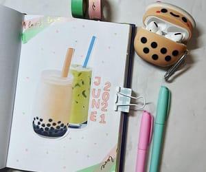 boba tea, bubble tea, and green image