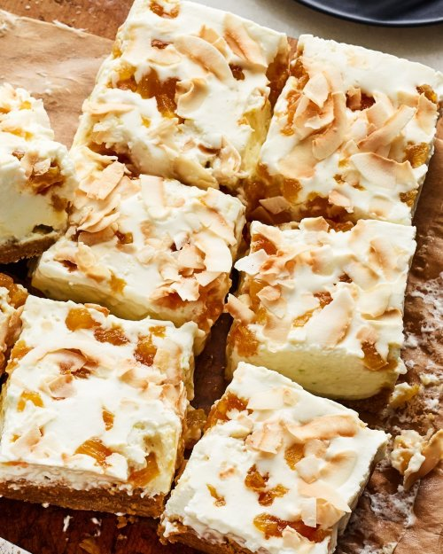 coconut, no bake cheesecake, and caramelized pineapple image
