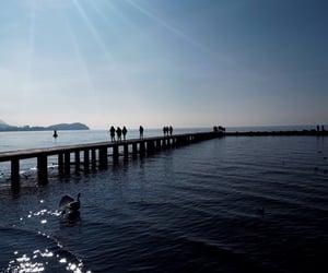 bridge, lake, and sky image