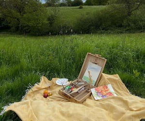 art, painting, and picnic image